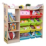 Kids Toy Storage Unit Bookcase Book Shelving Play Organizer Boxes Display Cabinet for Playroom Bedroom Children's Furniture (Color : Natural Wood, Size : 115 * 28.5 * 100cm)