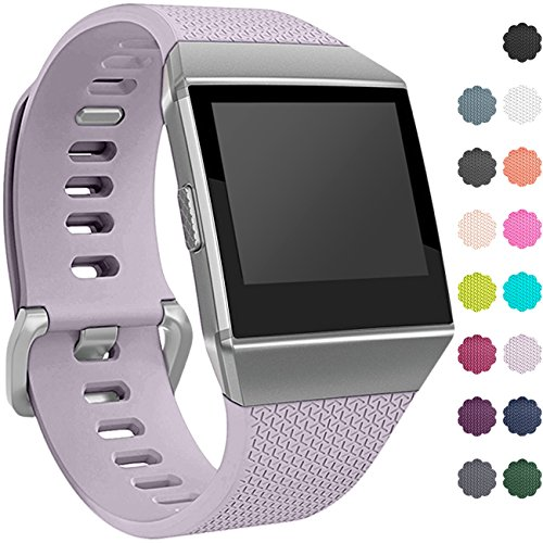 Wepro Bands Compatible with Fitbit Ionic SmartWatch, Watch Replacement Sport Strap for Women Men Kids, Buckle, Large, Lavender