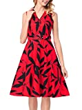 SYTX Womens Vintage Print Sleeveless Belted Business Swing Midi Dress Red L