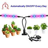[2018 Upgraded]Calofo 24W Cyclic Timing(4/8/12H) Function Dual Head Grow Light 12 LED 8 Dimmable Levels Grow Lamp Bulbs with Adjustable Gooseneck for Indoor Plants Hydroponics Greenhouse Gardening