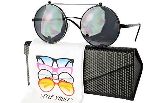 V3120-EC Style Vault Django Steampunk Flip Up Metal Round Sunglasses (B3388F Black-dark w case, - Sunglasses Urban