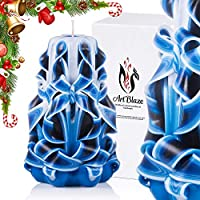 Gift Christmas Decorative Carved Candles - Birthday Gifts for Women - Gifts for Mom - Interior Decoration - Blue