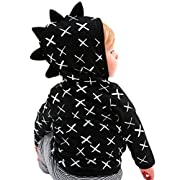 Gotd Toddler Infant Baby Girl Boy Clothes Jacket Coat Outerwear Christmas Long Sleeve Winter Autumn Outfits Gifts (6-12 Months, Black)