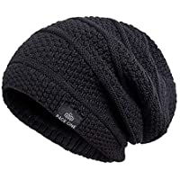 PAGE ONE Mens Winter Thick Warm Cable Knit Beanie Hat Soft Fleece Lined Stretch Slouchy Skully Striped Beanie