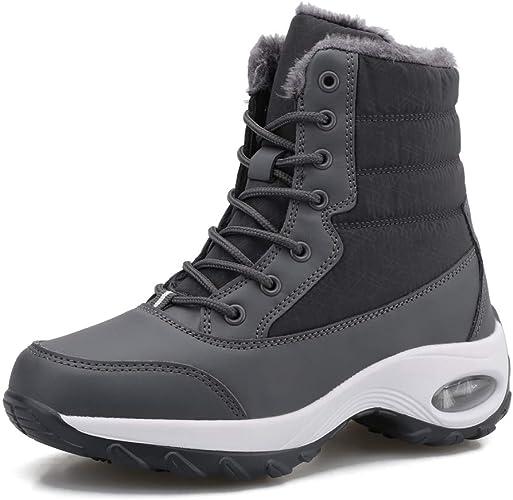 QZBAOSHU Femme Bottes de Neige Chaud Bas Rond Haut Bottes Hiver Boots Mode Courts Doublure Lacets Chaussures