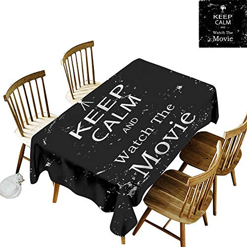 (one1love Fashions Rectangular Table Cloth Keep Calm Watch Movie Grunge It's Good to be Home Gorgeous High End Quality 50