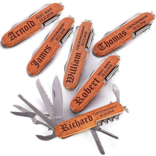 (Personalized Groomsmen Multi-tool Customized Name Title Wedding Date Custom Gift Groom Best Man Bachelor Party   Set of 6)