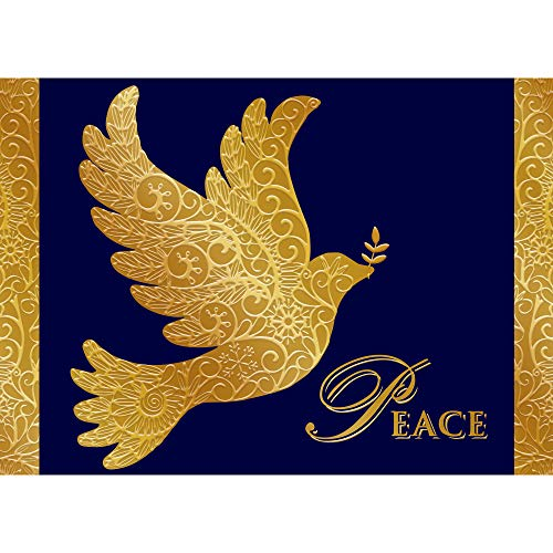 Card Christmas Peace - Paper Magic Group Blue and Gold Dove 'Peace' Merry Christmas Cards, Set of 12, 5
