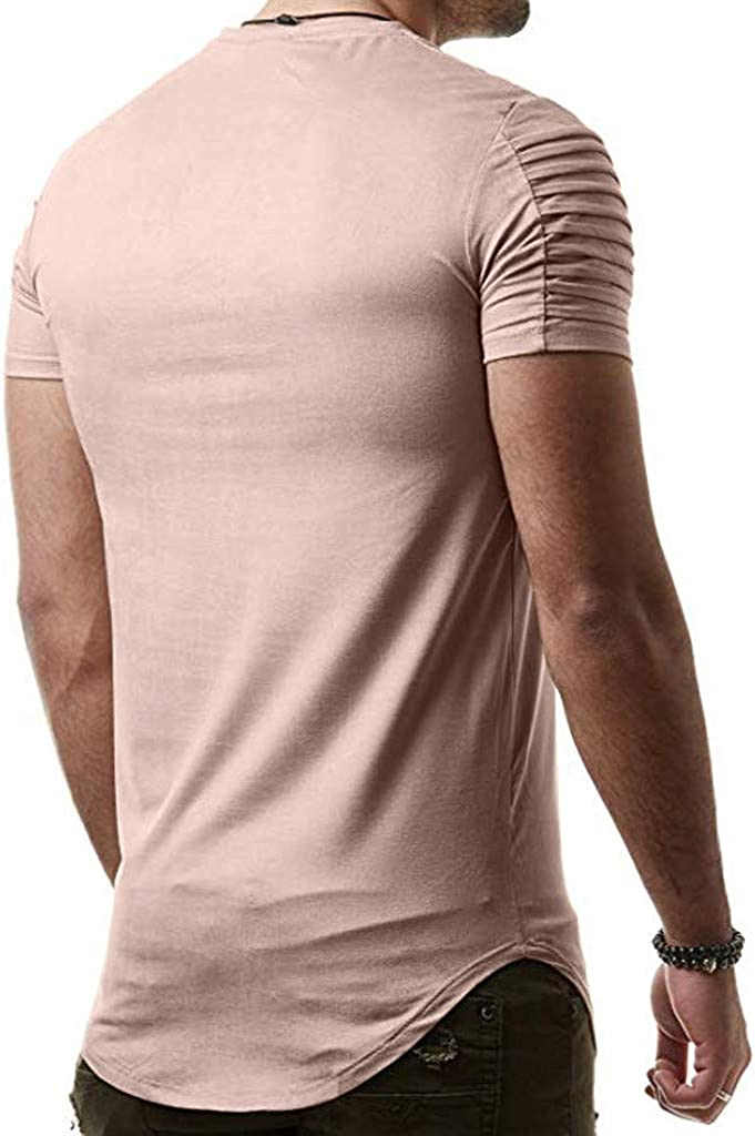 F/_Gotal Mens T-Shirts Fashion Summer Short Solid Color Pleated Zipper Casual Tee Shirts Blouse Tops Shirt for Men