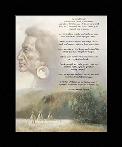 Black 1 inch Framed with Wisdom, (Native American Indian/A Sioux Indian Prayer / 21-8X10-C) 8x10 Inch Unknown, Art Print & -