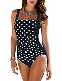 Vintage Women's Tummy Control Monokini One Piece Swimsuit Retro Bathing Suit