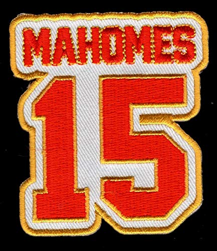 Patrick Mahomes No. 15 Patch - Jersey Number Football Sew or Iron-On Embroidered Patch 2 1/2 x 2 3/4