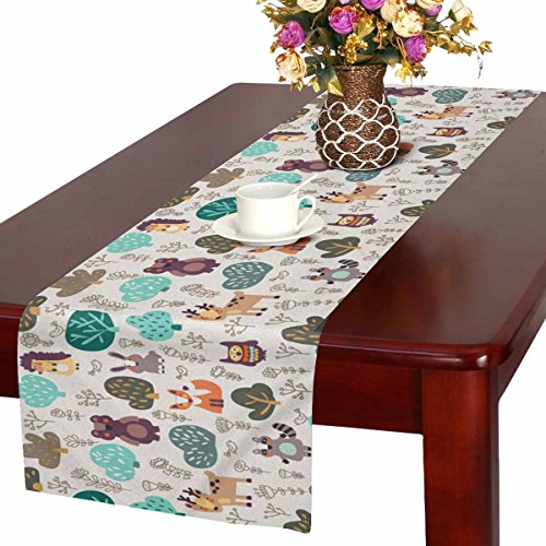 InterestPrint Funny Wild Animals Hedgehog Deer Fox Rabbit and Owl Table Runner Cotton Linen Cloth Placemat Home Decor for Home Kitchen Dining Wedding Party 16 x 72 Inches by InterestPrint