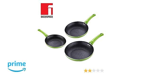 Juego de 3 sartenes Renberg Ardent con revestimiento de piedra de lava negra y mangos verdes anti-escaldaduras - kit de utensilios de cocina sartén ...