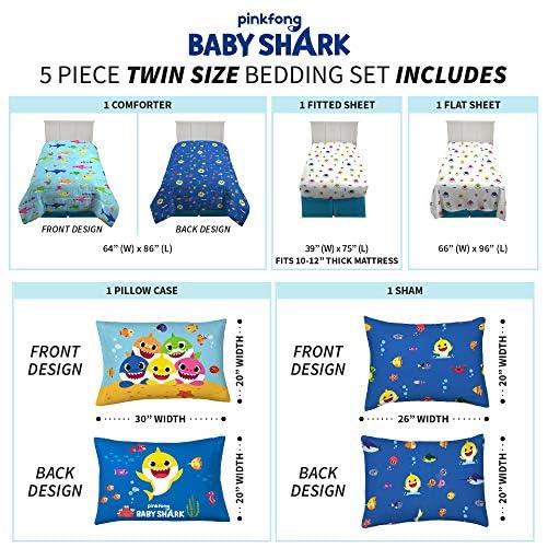 Franco Kids Bedding Super Soft Comforter and Sheet Set with Bonus Sham, 5 Piece Twin Size, Baby Shark 4