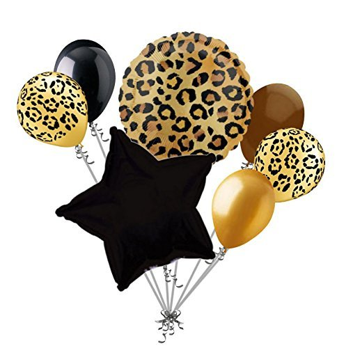 7 pc Tan Cheetah Print Balloon Bouquet Happy Birthday Baby Shower Animal Leopard]()