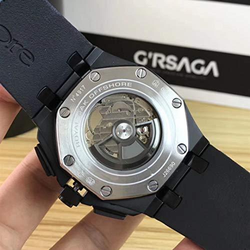 Varumärke män automatisk mekanisk safir ekar full svart guld marinblå gummi rostfritt stål klocka kungligt glas baksida AAA+