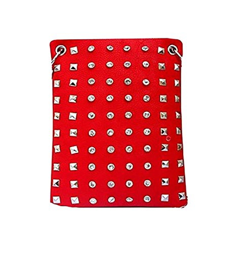 Fashion Handbags for Women - CRYSTAL AND STUDS, Small Crossover Designer Pouch - RED, 6