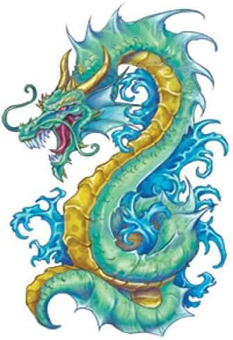 Fantasy Dragon Temporary Tattoos, 10 sheets, 10 Colorful Dragons
