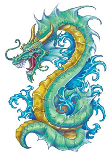 Fantasy Temporary Tattoos Colorful Dragons product image