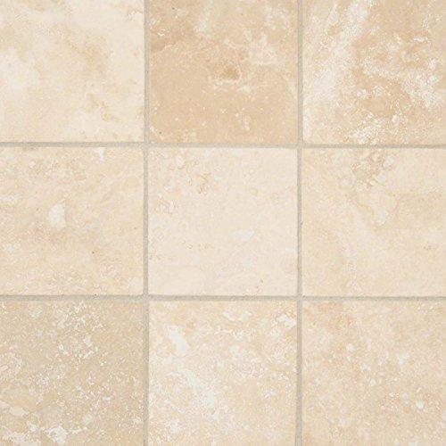 MS International THDW1-T-IVO-4X4 Ivory Travertine Honed and Beveled Ceramic tile, 4