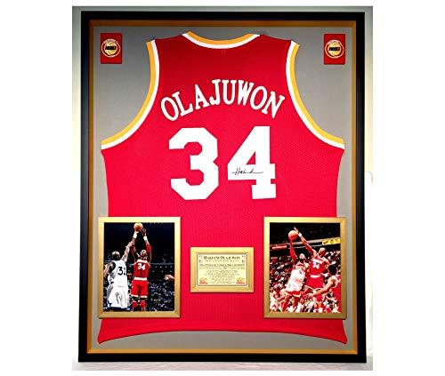 Premium Framed Hakeem Olajuwon Autographed/Signed Houston Rockets Jersey - JSA COA