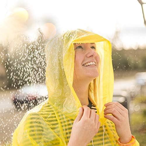 Geilisungren Einweg Regenponcho Wasserdichter Regenmantel Durchsichtiger Lange /Ärmel Einweg Regenumhang mit Kapuze f/ür Erwachsene Damen Herren Wandern Camping