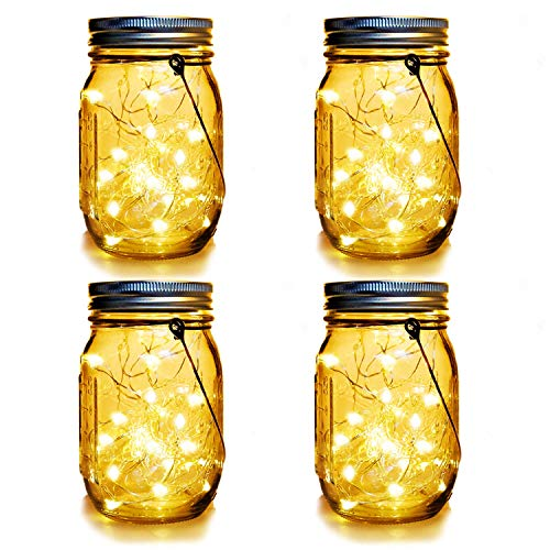 (WERTIOO 4 Pack Solar Mason Jars Lights,30 LEDs Hanging Solar Lanterns Garden Decor Outdoor Lights Warm White Table Decor Fairy Lights for Patio Wedding Christmas Party (4 Pack))