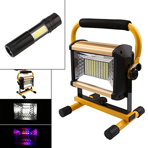Chase Lighting - Chase Outdoor 100W 100LED Spotlights Work Lights Outdoor Camping Lights(1000W Equivalent), Built-in Rechargeable 13200mah Lithium Batteries (With 4 Mode Q5+COB LED Work Light)