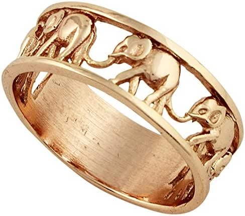 Sterling Silver Elephant Family Migration Ring Rose Gold-Tone Plated 925 (Sizes 4-15)