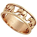 CloseoutWarehouse Sterling Silver Elephant Family Migration Ring Rose Gold-Tone Plated 925 Size 13