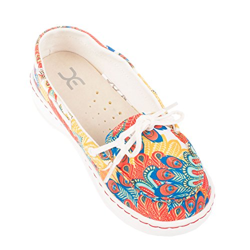 White Women's Colour Funk Deck Moka Peacock Multi Dude On Shoes Shoe Slip U745qwWZIx