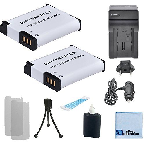 Kit Battery Panasonic Starter Charger - 2 Panasonic Replacement DMW-BCM13 Batteries + Car/Home Charger f/DMC-TS5, DMC-FT5, DMC-ZS27, DMC-ZS30, DMC-ZS35, DMC-ZS40, DMC-LZ40 Camera & Others + Complete Starter Kit