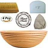 10 inch Natural Round Ratten Banneton Bread Proofing Basket Set that comes with Brotform Linen Cloth Liner | Flour Brush | Bowl Scraper Great for Sourdough Recipes Meant for Making and Rising Dough