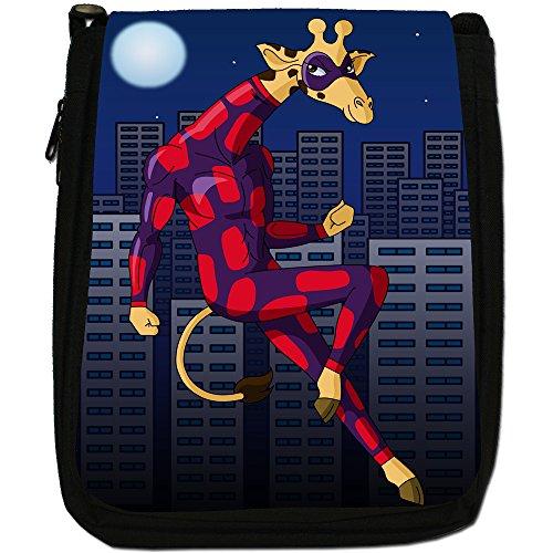 Stealth Bag Size Suit Black Animals In Action Hero Medium Superhero Giraffe Canvas Shoulder RqPSAWw