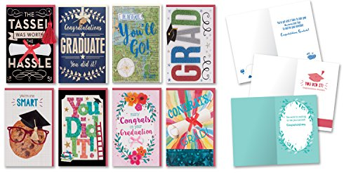 Congratulations Graduation Cards Boxed Set of 8 Embellished Handmade Collegiate Graduation Greeting Cards for Him and Her