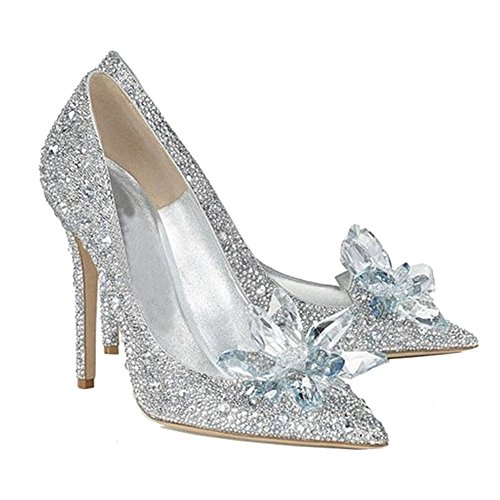 Cinderella Glass Shoes High Heel Fancy Fashion Cosplay Bling Glass Slipper 39 by Cosplay_Rim