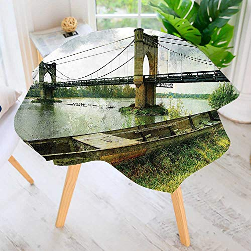 UHOO2018 Easy-Care Cloth Tablecloth Round-Bridge and Old Boat