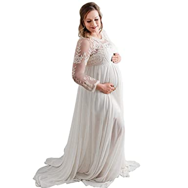 aac81043f07a7 Women's Long Sleeve V Neck White Lace Chiffon Floral Maternity Gown Maxi  Photography Dress(White
