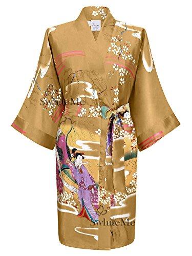 Swhiteme Women's Kimono Robe, Short, One Size, Geisha, Champagne