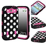 S3 Case, E LV Galaxy S3 Case Cover Hybrid Dual Layer Defender Armor Shock-Absorption POLKA DOT PRINT for Samsung Galaxy S3 i9300 with 1 Screen Protector, 1 Black Stylus and E LV Microfiber Sticker Digital Cleaner - Black ...