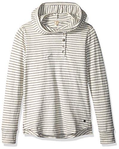 Hooded Roxy Shirt (Roxy Big Girls' Pocketful of Hope Sweater, Dress Blue Nautical Stripe, 12/L)