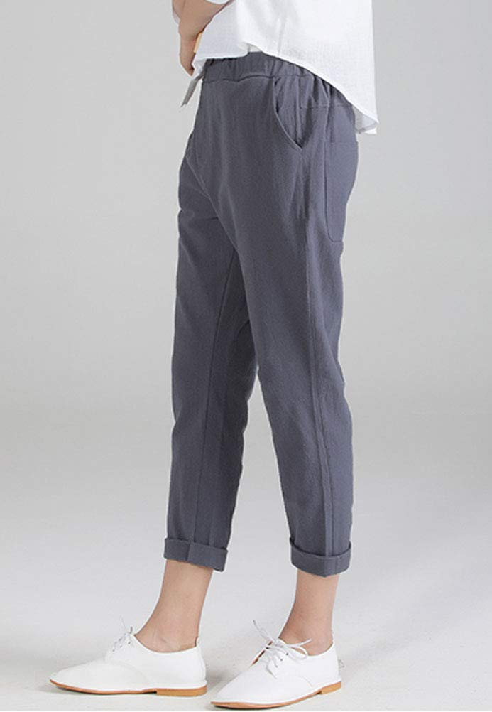 Soojun Womens Cotton Linen Loose Fit Elastic Waist Harm Pant, Grey, X-Large by Soojun (Image #4)