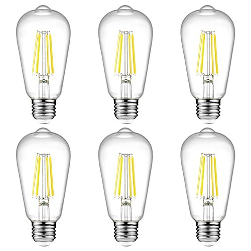 (Ascher Vintage LED Edison Bulbs, 6W, Equivalent 60W, High Brightness Daylight White 4000K, ST58 Antique LED Filament Bulbs, E26 Medium Base, Non Dimmable, Clear Glass, Pack of 6)