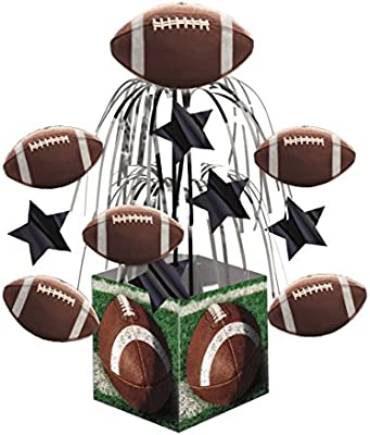 Multicolor Creative Converting 266151 Stars and Footballs Mini Cascade with Printed Base Tailgate Rush Table Centerpiece Party Supplies 19.25