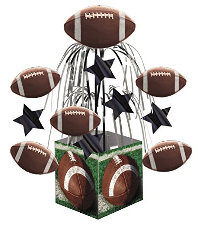 Creative Converting 266151 Mini Cascade with Printed Base Tailgate Rush Table Centerpiece, Green/Brown (Tailgating Decorations)