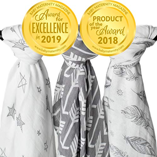 Muslin Swaddle Blankets 3 Pack Large 47x47in Baby Blanket Wanderer