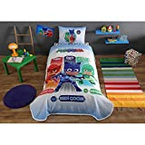 TAC 3-Piece PJ Masks Licensed Cartoons Bedspread Coverlet (Pique) Set, 100% Pure Cotton Luxury, Children Teenager Single Size