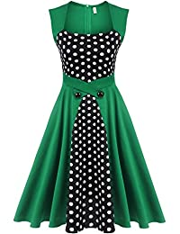 Meaneor Women's 1950s Retro Vintage Sleeveless Polka Dot Swing Party Tea Dress