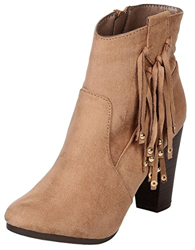 Breckelle's Women's Western Tassel Fringe Bead Chunky Stacked Heel Ankle Bootie,8.5 B(M) US,Natural